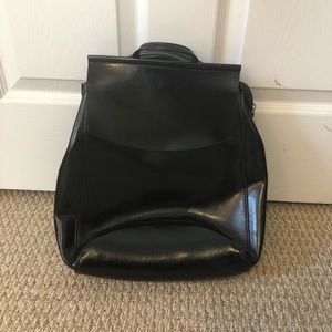 Multi functional black leather backpack purse!